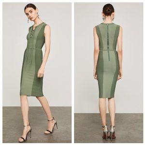 BCBGMAXAZRIA Safari Green Body Con Dress